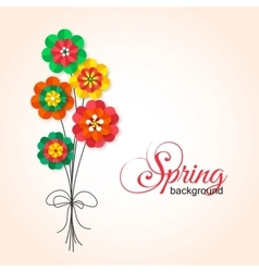 Spring Cutout Paper Flowers Bouquet of Spring vector image