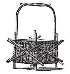 wicker-work jardiniere used to hold decorative vector image