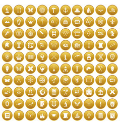 100 archeology icons set gold vector image