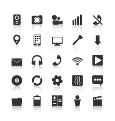 black icons for design of mobile applications vector image