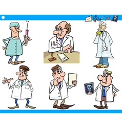 cartoon medical staff characters set vector image