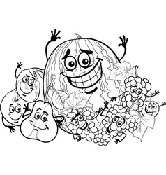 fruits group cartoon for coloring book vector image vector image
