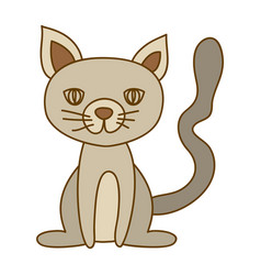 light colored hand drawn silhouette of cat sitting vector image vector image
