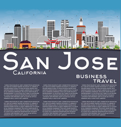San jose california skyline with gray buildings vector