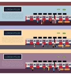 Set of Subway train banners vector image