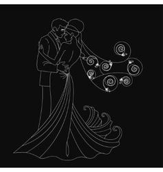 Black silhouette kissing vector image