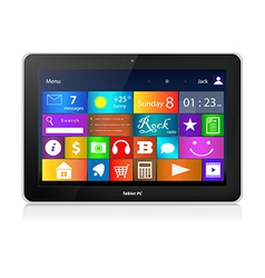 Black Tablet PC with metro interface vector image vector image