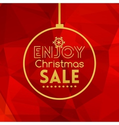 Christmas sale ball card abstract red background vector image vector image