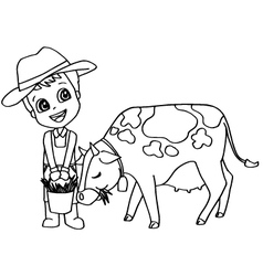 Coloring book or page child feeding cow vector image vector image