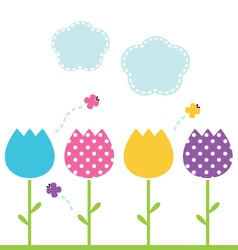 Cute spring garden Tulips isolated on white vector image vector image