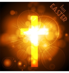 Easter Cross on a golden glowing background with vector image vector image