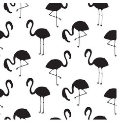 flamingo black silhouette seamless texture vector image