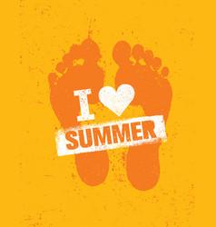 hello summer bright creative footprint sand beach vector image vector image