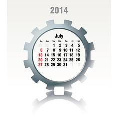 July 2014 - calendar vector image vector image
