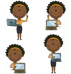 African-American business ladies with laptop vector image vector image