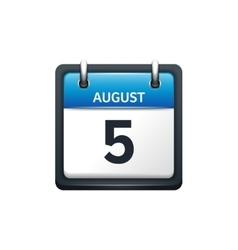 August 5 Calendar icon flat vector image