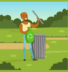 ecological lifestyle concept with man character vector image vector image
