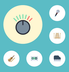 Flat icons fiddle octave keyboard musical vector