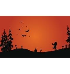 Halloween red background scenery vector image vector image