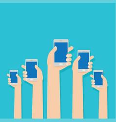hands hold smartphones flat design vector image