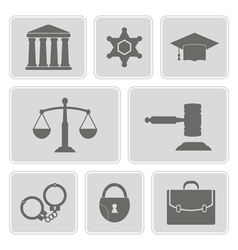 icons with symbols of law and courts vector image vector image