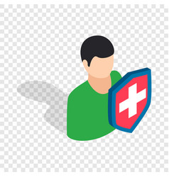 male and shield isometric icon vector image