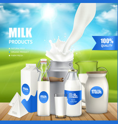 milk products poster vector image vector image