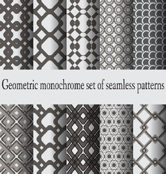 monochrome set seamless patterns vector image