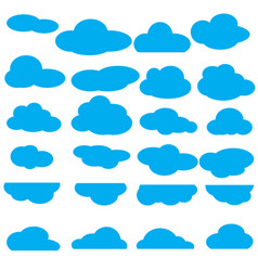 Set of clouds flat icon collection vector