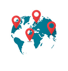 world map destination pins concept of global gps vector image