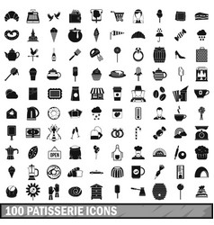 100 patisserie icons set simple style vector