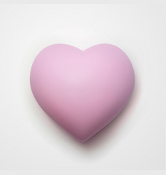 3d cartoon pink heart isolated on white background vector image
