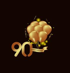 90 year anniversary gold balloon template design vector