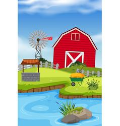 an rural farm house vector image
