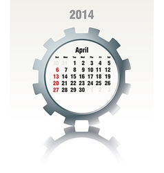 April 2014 - calendar vector image