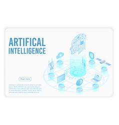 Artificial intelligence landing page isometric vector