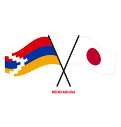 Artsakh and japan flags crossed and waving flat vector
