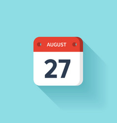 August 27 Isometric Calendar Icon With Shadow vector