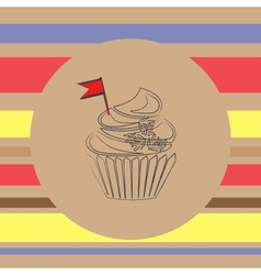 background with scetch of cupcake vector image