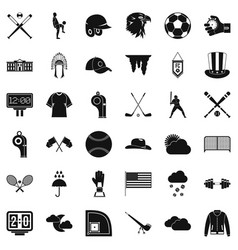 Baseball bat icons set simple style vector