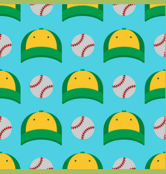 Baseball sport game hats and balls vector