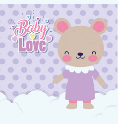 bashower love female cute bear with dress on vector image