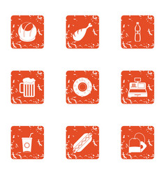 beer stall icons set grunge style vector image