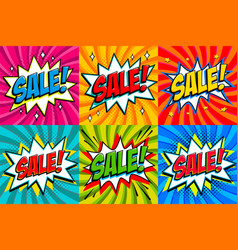 big sale set comic style template banners 4 sale vector image
