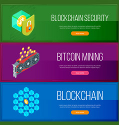 blockchain and cryptocurrency banners set vector image