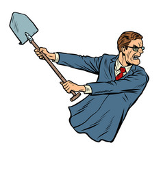businessman with a shovel vector image