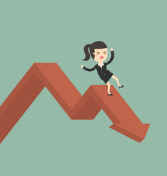 Businesswoman on falling down chart vector