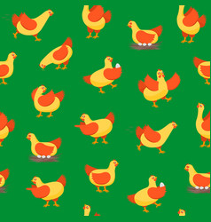 cartoon characters happy hens seamless pattern vector image