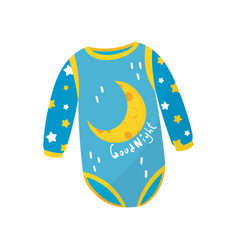 Cartoon icon of blue baby bodysuit with long vector