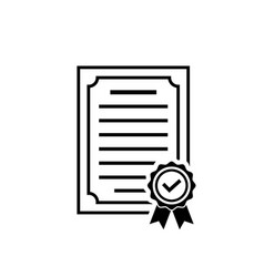 certificate icon with rosette and check vector image